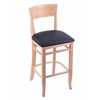 "Holland Bar Stool Co. 3160  25"" Stool with Natural Finish, Allante Dark Blue Seat"