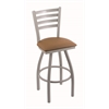 "410 Jackie 30"" Bar Stool with Anodized Nickel Finish, Allante Beechwood Seat, and 360 swivel"