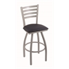 "410 Jackie 36"" Bar Stool with Anodized Nickel Finish, Allante Dark Blue Seat, and 360 swivel"
