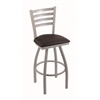 "410 Jackie 30"" Bar Stool with Anodized Nickel Finish, Allante Espresso Seat, and 360 swivel"
