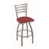 "410 Jackie 36"" Bar Stool with Anodized Nickel Finish, Allante Wine Seat, and 360 swivel"