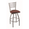 "Holland Bar Stool Co. 410 Jackie 25"" Counter Stool with Anodized Nickel Finish, Axis Paprika Seat, and 360 swivel"