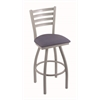 "410 Jackie 36"" Bar Stool with Anodized Nickel Finish, Rein Bay Seat, and 360 swivel"