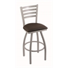 "410 Jackie 25"" Counter Stool with Anodized Nickel Finish, Rein Coffee Seat, and 360 swivel"