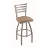 "410 Jackie 30"" Bar Stool with Anodized Nickel Finish, Rein Thatch Seat, and 360 swivel"