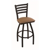 "410 Jackie 30"" Bar Stool with Black Wrinkle Finish, Allante Beechwood Seat, and 360 swivel"