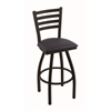 "410 Jackie 30"" Bar Stool with Black Wrinkle Finish, Allante Dark Blue Seat, and 360 swivel"