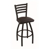"410 Jackie 30"" Bar Stool with Black Wrinkle Finish, Allante Espresso Seat, and 360 swivel"