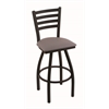 "410 Jackie 30"" Bar Stool with Black Wrinkle Finish, Allante Medium Grey Seat, and 360 swivel"