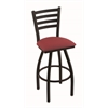 "Holland Bar Stool Co. 410 Jackie 25"" Counter Stool with Black Wrinkle Finish, Allante Wine Seat, and 360 swivel"