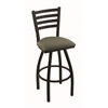 "410 Jackie 30"" Bar Stool with Black Wrinkle Finish, Axis Grove Seat, and 360 swivel"