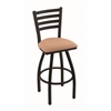 "Holland Bar Stool Co. 410 Jackie 30"" Bar Stool with Black Wrinkle Finish, Axis Summer Seat, and 360 swivel"