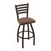 "410 Jackie 30"" Bar Stool with Black Wrinkle Finish, Axis Willow Seat, and 360 swivel"