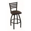 "410 Jackie 30"" Bar Stool with Black Wrinkle Finish, Rein Coffee Seat, and 360 swivel"