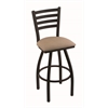 "Holland Bar Stool Co. 410 Jackie 25"" Counter Stool with Black Wrinkle Finish, Rein Thatch Seat, and 360 swivel"