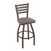 "Holland Bar Stool Co. 410 Jackie 30"" Bar Stool with Bronze Finish, Allante Medium Grey Seat, and 360 swivel"