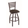 "410 Jackie 25"" Counter Stool with Bronze Finish, Rein Coffee Seat, and 360 swivel"