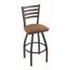 "410 Jackie 30"" Bar Stool with Pewter Finish, Allante Beechwood Seat, and 360 swivel"