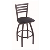 "Holland Bar Stool Co. 410 Jackie 25"" Counter Stool with Pewter Finish, Allante Dark Blue Seat, and 360 swivel"
