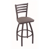 "410 Jackie 30"" Bar Stool with Pewter Finish, Allante Medium Grey Seat, and 360 swivel"