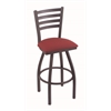 "410 Jackie 30"" Bar Stool with Pewter Finish, Allante Wine Seat, and 360 swivel"