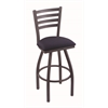 "410 Jackie 36"" Bar Stool with Pewter Finish, Axis Denim Seat, and 360 swivel"