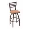 "410 Jackie 36"" Bar Stool with Pewter Finish, Axis Summer Seat, and 360 swivel"