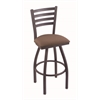 "410 Jackie 30"" Bar Stool with Pewter Finish, Axis Willow Seat, and 360 swivel"