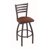 "410 Jackie 30"" Bar Stool with Pewter Finish, Rein Adobe Seat, and 360 swivel"