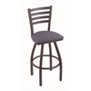 "410 Jackie 36"" Bar Stool with Pewter Finish, Rein Bay Seat, and 360 swivel"