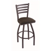 "410 Jackie 30"" Bar Stool with Pewter Finish, Rein Coffee Seat, and 360 swivel"