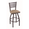 "410 Jackie 30"" Bar Stool with Pewter Finish, Rein Thatch Seat, and 360 swivel"