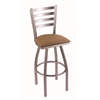 "410 Jackie 30"" Bar Stool with Stainless Finish, Allante Beechwood Seat, and 360 swivel"