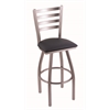 "410 Jackie 36"" Bar Stool with Stainless Finish, Allante Dark Blue Seat, and 360 swivel"