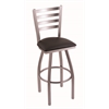 "410 Jackie 25"" Counter Stool with Stainless Finish, Allante Espresso Seat, and 360 swivel"