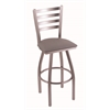 "410 Jackie 25"" Counter Stool with Stainless Finish, Allante Medium Grey Seat, and 360 swivel"