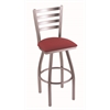 "410 Jackie 25"" Counter Stool with Stainless Finish, Allante Wine Seat, and 360 swivel"