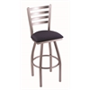 "410 Jackie 30"" Bar Stool with Stainless Finish, Axis Denim Seat, and 360 swivel"