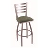 "410 Jackie 36"" Bar Stool with Stainless Finish, Axis Grove Seat, and 360 swivel"