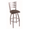 "410 Jackie 25"" Counter Stool with Stainless Finish, Axis Truffle Seat, and 360 swivel"