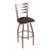 "410 Jackie 25"" Counter Stool with Stainless Finish, Rein Coffee Seat, and 360 swivel"