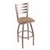 "410 Jackie 30"" Bar Stool with Stainless Finish, Rein Thatch Seat, and 360 swivel"