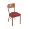"630 Voltaire 18"" Chair with Anodized Nickel Finish, Allante Wine Seat, and Medium Oak Back"