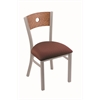 "630 Voltaire 18"" Chair with Anodized Nickel Finish, Axis Paprika Seat, and Medium Oak Back"