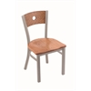 "630 Voltaire 18"" Chair with Anodized Nickel Finish, Medium Oak Seat, and Medium Oak Back"