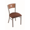 "Holland Bar Stool Co. 630 Voltaire 18"" Chair with Anodized Nickel Finish, Rein Adobe Seat, and Medium Oak Back"