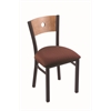 "Holland Bar Stool Co. 630 Voltaire 18"" Chair with Black Wrinkle Finish, Axis Paprika Seat, and Medium Maple Back"