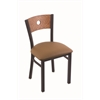 "Holland Bar Stool Co. 630 Voltaire 18"" Chair with Black Wrinkle Finish, Allante Beechwood Seat, and Medium Oak Back"