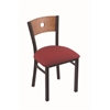 "630 Voltaire 18"" Chair with Black Wrinkle Finish, Allante Wine Seat, and Medium Oak Back"