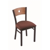 "630 Voltaire 18"" Chair with Black Wrinkle Finish, Axis Paprika Seat, and Medium Oak Back"
